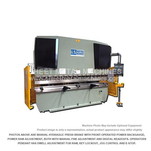 U.S. INDUSTRIAL Hydraulic Press Brake with Front Operated Power Backgauge and Power Ram Adjust USHB88-8HM