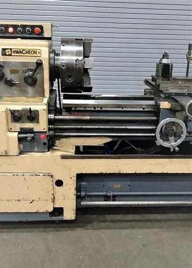 """Used Hwascheon 18""""x 40"""" Gap Bed Engine Lathe /New Digital Readouts"""