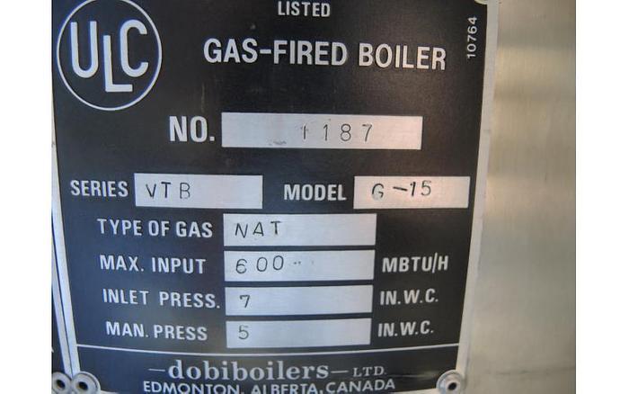 USED BOILER, GAS-FIRED STEAM BOILER, 15 HP