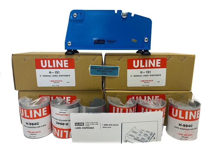 """Used Uline H-151 2"""" Manual Label Dispenser W/H-994C Core Adapter NEW Lot (6730)W"""