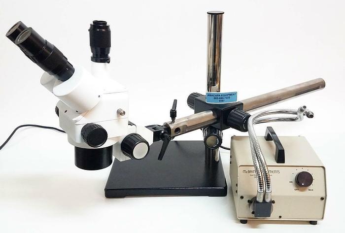 Used Amscope Trinocular Microscope Head Unbranded w McBain Light Source & Mount (6587