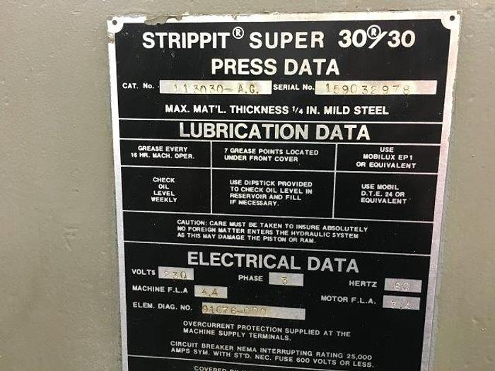 "30 Ton, STRIPPIT SUPER 30/30, 30"" Throat, Large Assortment of Tooling [4684]"