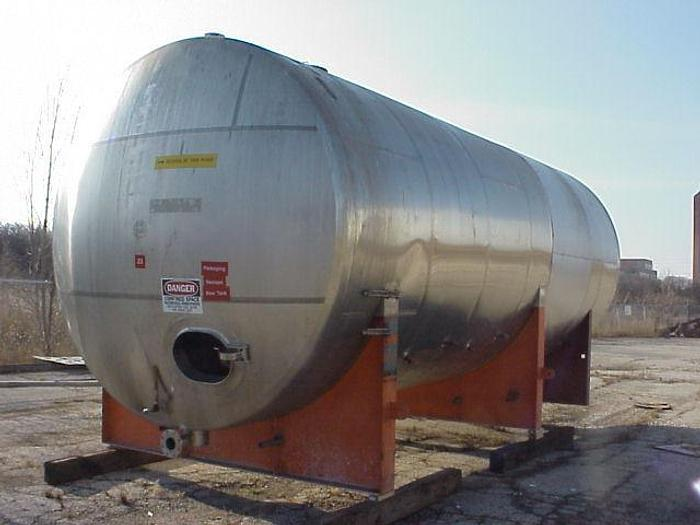 USED 12 000 GALLON JACKETED TANK, STAINLESS STEEL, HORIZONTAL