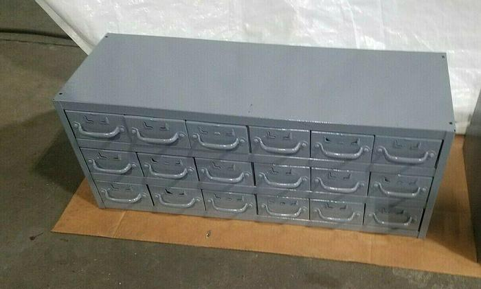 Used Industrial Metal 18 Drawer Tabletop Storage Cabinet for bolts screws tools etc.