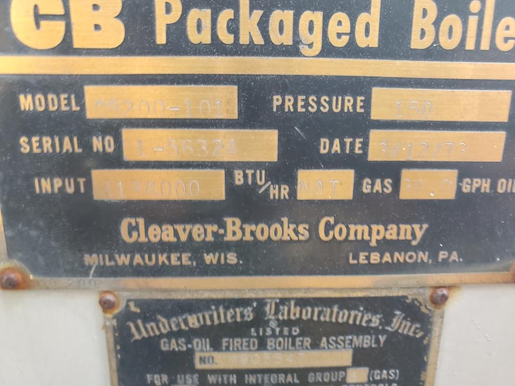1973 Cleaver Brooks 100 HP 150 PSI Steam Boiler  CB200-100