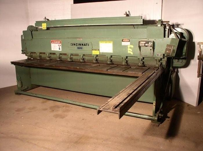 "Used 10 ga x 120"" Cincinnati Model 1010 Mechanical Shear; 36"" FOPBG"
