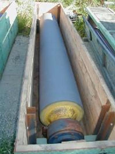 """Used 120"""" cast rubber roll, 18"""" diameter."""