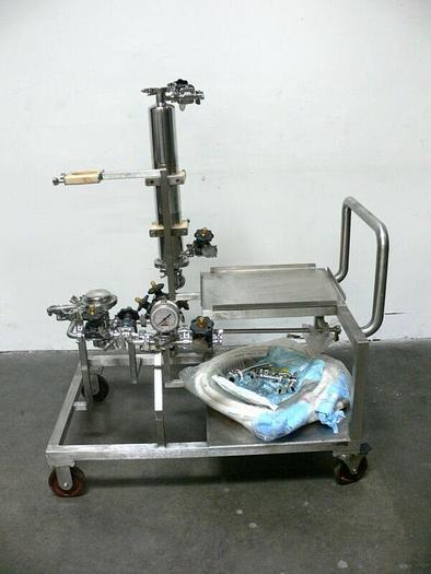 Used Sartorius HU12U71-3058M F-1748 Asepco + ITT PureFlo Filtration Skid w/ Valves