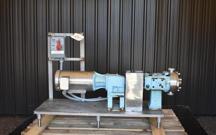 USED WAUKESHA ROTARY LOBE PUMP, MODEL 030-U2, STAINLESS STEEL