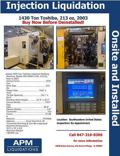 Used 2003 1430 ton Toshiba Injection Molder Liquidation