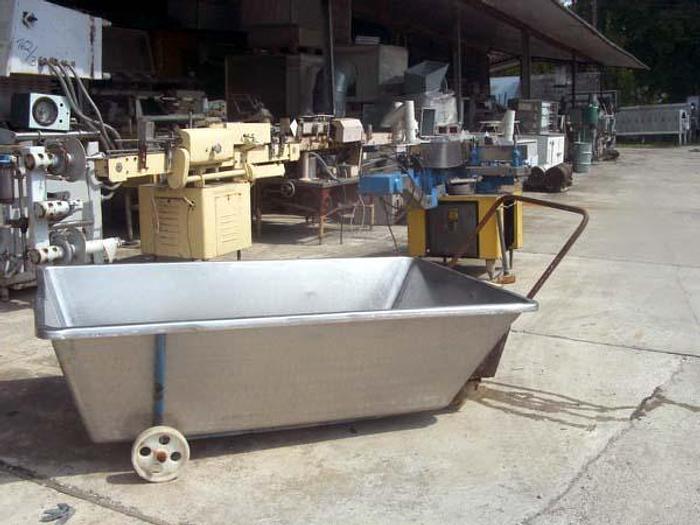 Używane Nierdzewna wózko-wanna prostokątna na kółkach nieuchylna