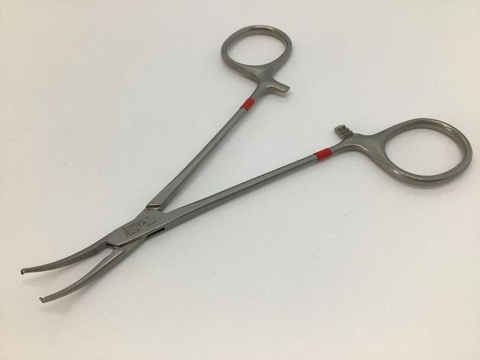 Used Forceps Artery Halsted Micro Curved 1 in 2 Teeth 125mm