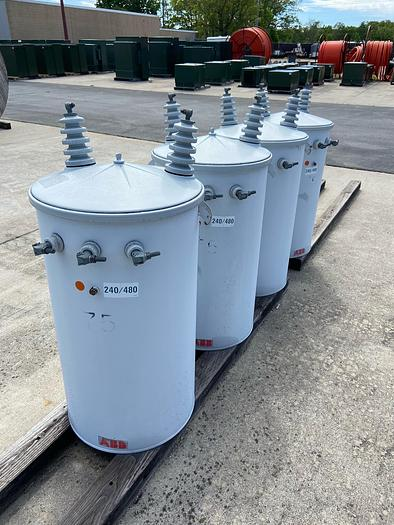 Used SEECO 75 kVA 240/480V pole mount transformers.