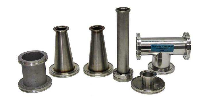 Used MKS Tee Fitting, Inficon Full Nipple Fitting, Conical Reducer Lot of 6 (8264)W