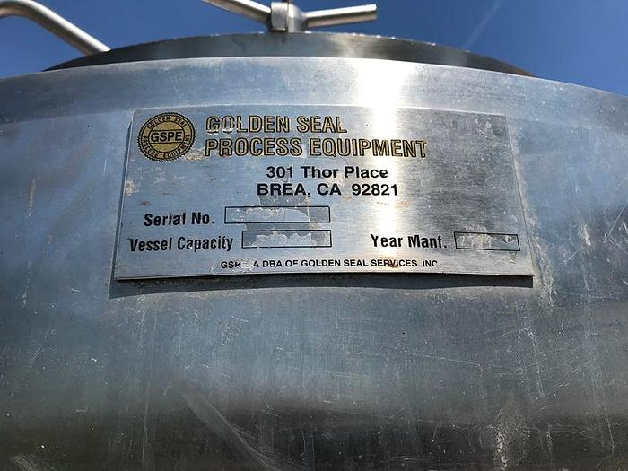 350 Gal Jacketed Vertical Stainless Steel Tank