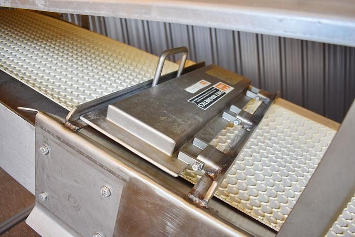 USED STAINLESS STEEL BELT CONVEYOR, 16'' WIDE X 92'' LONG, WITH ERIEZ MAGNET