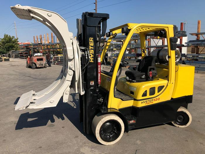 """Used 12,000 POUND ROLL CLAMP FORKLIFT TRUCK W/ 60"""" DIAMETER CASCADE ROLL CLAMP"""
