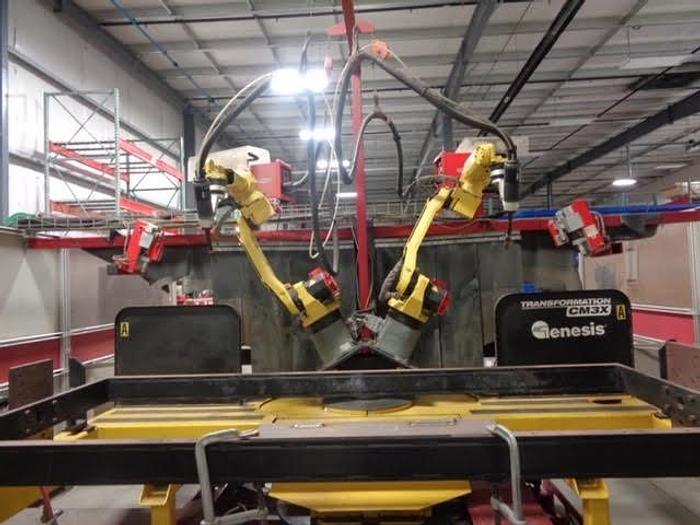 Used 2009 GENESIS/FANUC DUAL ARM FANUC ARCMATE 100iC A/B TABLE WELDING CELL, BARLEY USED