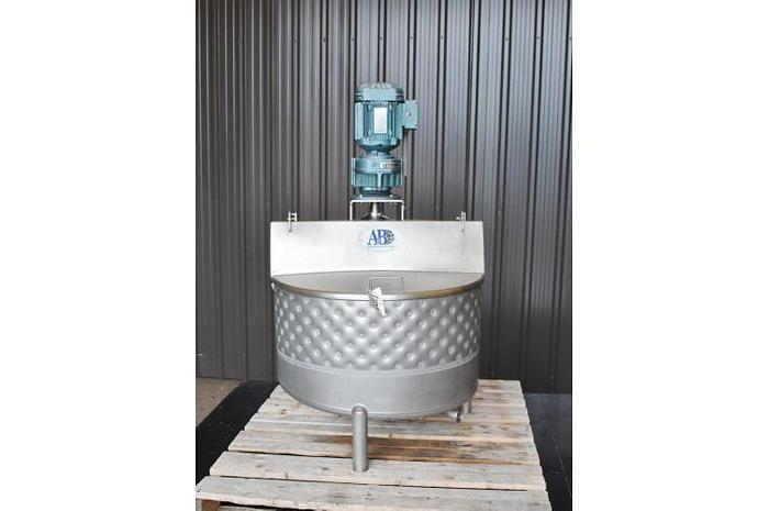 USED 50 GALLON JACKETED TANK, STAINLESS STEEL, WITH TOP ENTRY MIXER