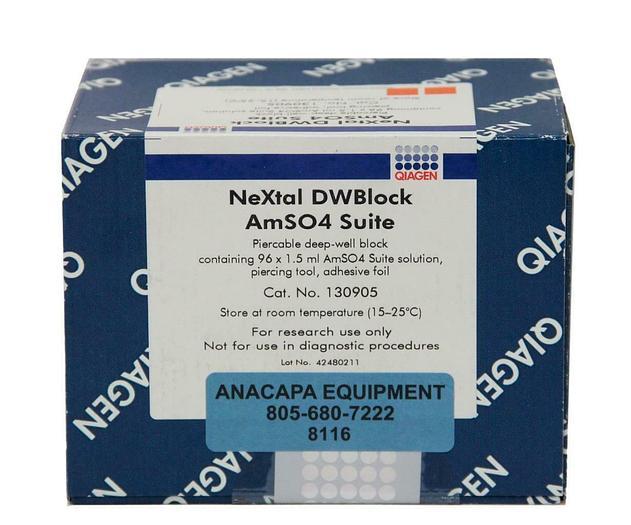 Qiagen 130906 NeXtal DWBlock AMSO4 Suite Pierceable Deep-Well Block New (8116)W