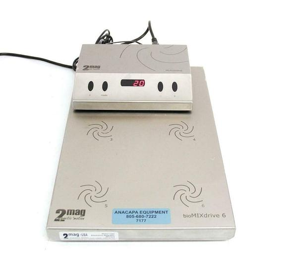 Used 2mag-USA MF90400 BioMixDrive 6 Electronic Magnetic Stirrers w/ Controller (7177)