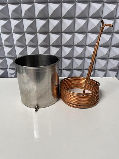 """Used 21' Coiled Spiral Copper Wire for Immersion 3/8"""" OD w/ 12 Liter Vessel 10"""" Sanitary Fitting"""