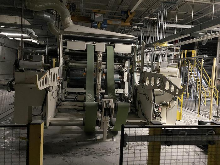 """Used 100"""" WIDE TISSUE TOWEL CONVERTING LINE W/ EMBOSSER AND SAW"""