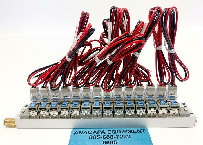 SMC V100-1-6 Solenoid Valve (X14), 16 Station Manifold, Lead Wires New (6685)W