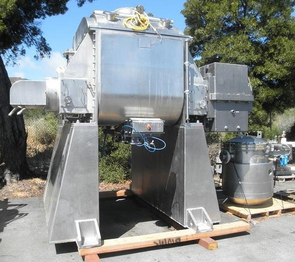 Used 200 GALLON AARON PROCESS DOUBLE ARM VACUUM MIXER/DRYER – S/S – VACUUM & JACKETED (#9391)