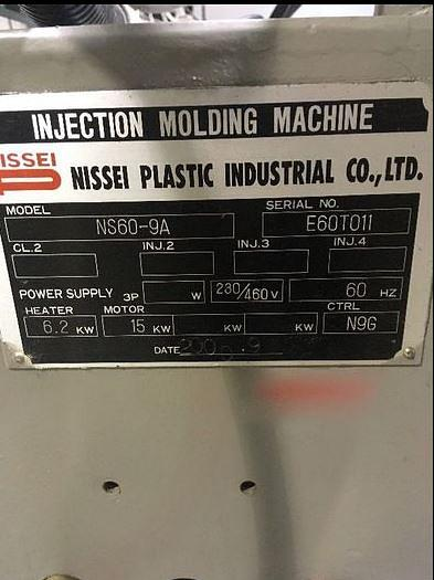 NISSEI NS60-9A INJECTION MOLDING MACHINE, 72 TON