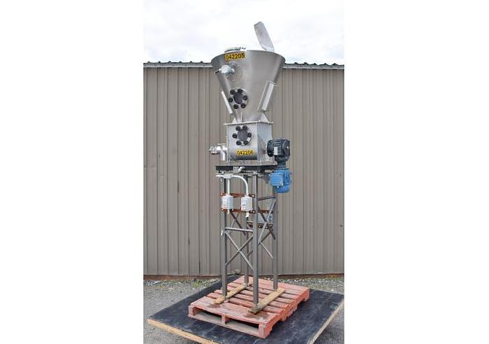 "USED SCREW CONVEYOR, 3"" DIAMETER, WITH 100 GALLON STAINLESS STEEL HOPPER, SANITARY"
