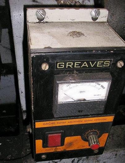 Greaves Variable Speed Drive: Model # 10235 OV :Rating 11 K.W. Speed 120-1200 RPM: S.R. 600 JA 354:F. L. Torque 7.13 KGM. Unit is powered by 15 HP. A.C. Induction Motor 230/460 Volts