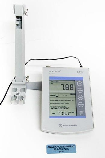 Used Fisher Scientific Accumet Basic AB15 pH Meter w/ Stand & Power Supply (6450) c
