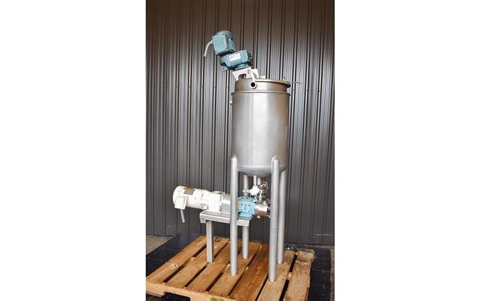 Used USED 20 GALLON JACKETED MIX TANK, STAINLESS STEEL WITH JACKETED WAUKESHA PUMP