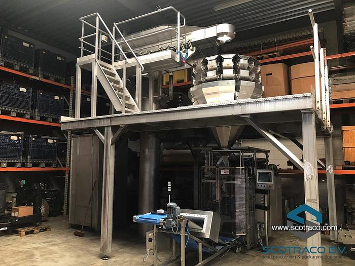 Used Complete weighing and packing line, Yamato sigma 714, Innotech vffs