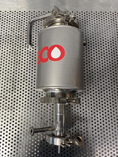 """Used Stainless Steel 11"""" L x 4"""" Sanitary Fitting Tank w/ 9"""" Coiled Immersion Element"""