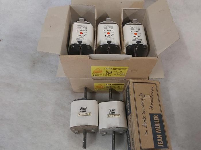 3 Stück NH Sicherungseinsätze Größe 3, 500A, NSP/3, 500V, Siba,  neuwertig