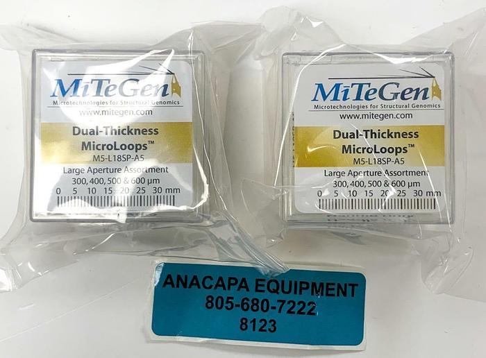 MiTeGen M5-L18SP-A5, Dual-Thickness MicroLoops Apertures Lot of 2 New (8123)W