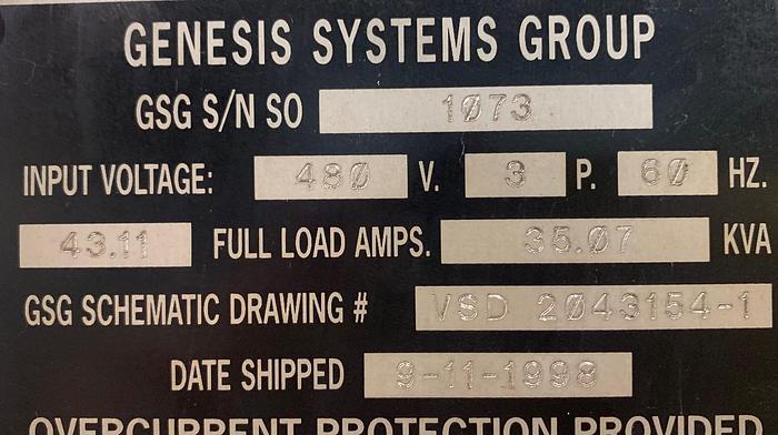 GENESIS VERSA 2G DUAL TRUNNION MIG WELDING CELL YR.1998 W/FANUC ARCMATE 120IC/10L ROBOT YR. 2008