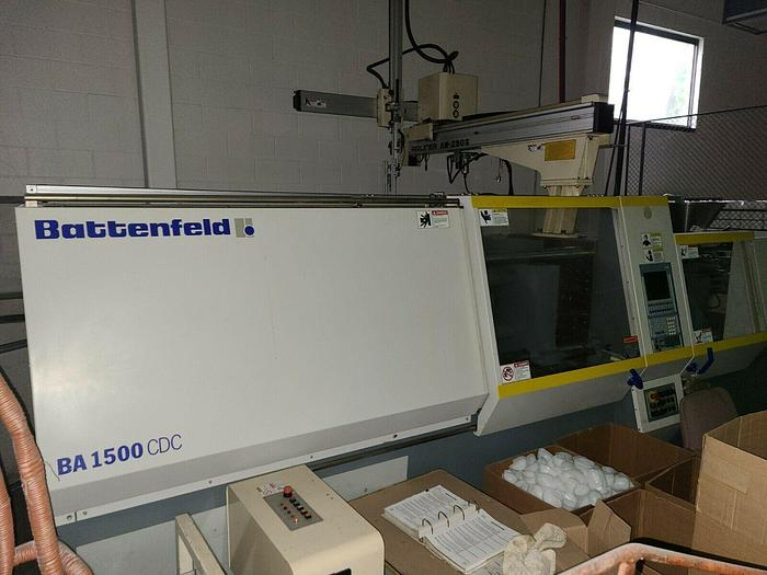Used Battenfeld BA 1500 CDC Injection Molding Machine with Robot 165 Ton 9.5 ounce