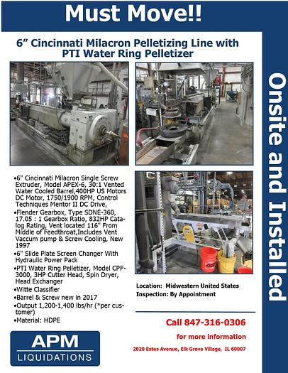 "Used 6"" Milacron Pelletizing Line with PTI Water Ring Pelletizer"