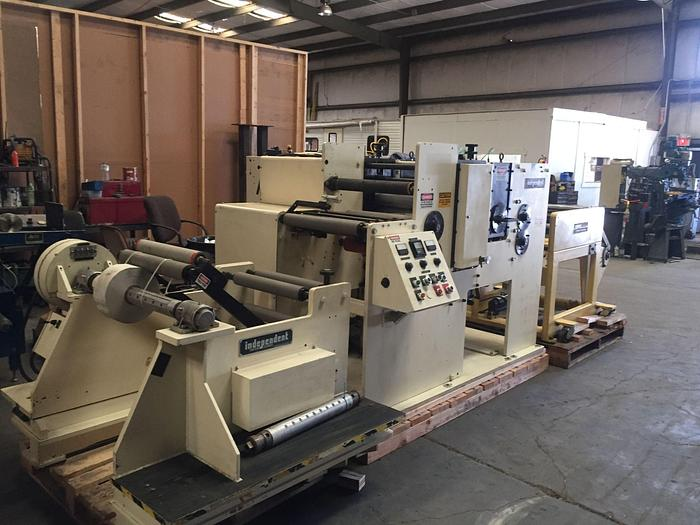 "Used 19"" WIDE ROTARY DIE CUTTER WITH COMCO REWINDER"