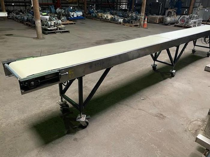 "20' Long x 18""Wide Portable Sanitary Flat Belt Conveyor"