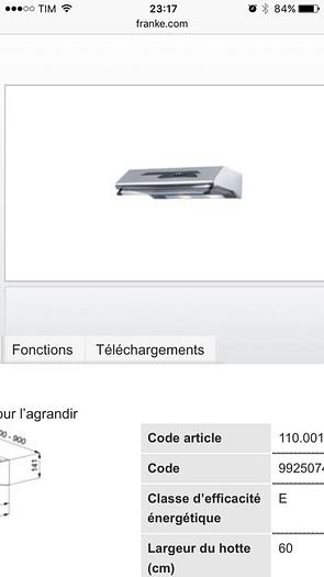 Usata CAPPA FRANKE FTF 604 XS (60 CM)