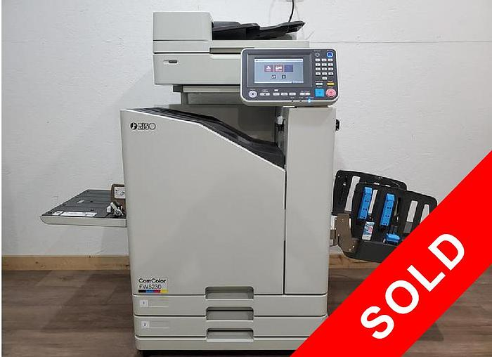 Used Riso ComColor FW5230 Full Color Inkjet Printer with Scanner and Auto Stacking Tray. Only 344K Total Prints!