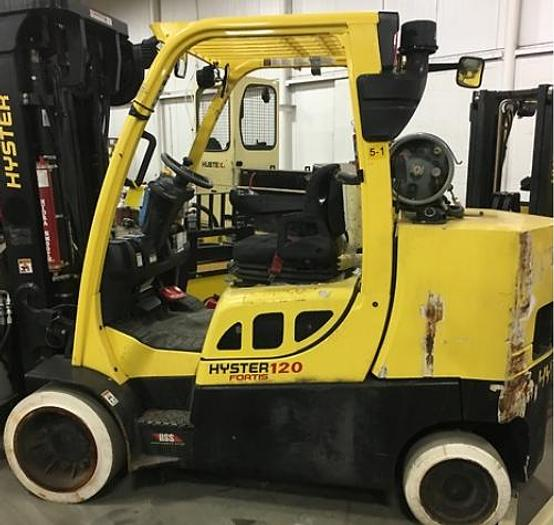 "Used 12,000 POUND ROLL CLAMP FORKLIFT TRUCK W/ 60"" DIAMETER CASCADE ROLL CLAMP"
