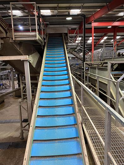 Used Stainless Steel Elevated Conveyor 12m L 1.35m W