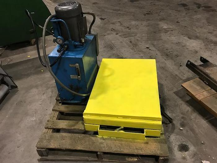 "Used LIFT TABLE AUTOQUIP CORP. 24"" WIDE X 36"" LONG VICKERS HYDRAULIC PACKAGE"