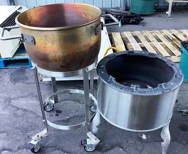 Used Savage Brothers Gas Stove Candy Cooker w/ Copper Pot 80,000 BTU.