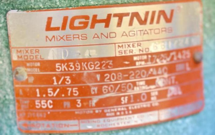 USED LIGHTNIN ND-1 CLAMP-ON MIXER, 0.3 HP